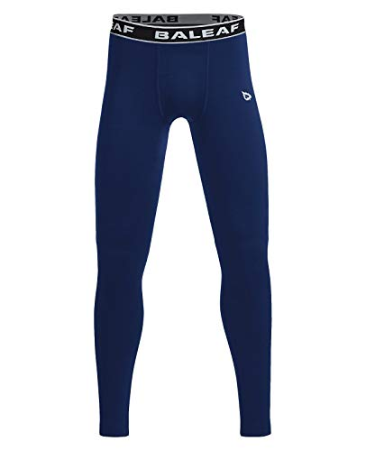 BALEAF Youth Boys' Compression Thermal Baselayer Sport Basketball Tights Fleece Lined Leggings Navy Size M