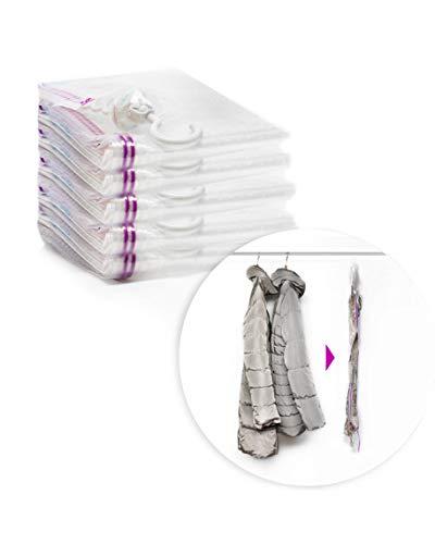 MSB MYSTORAGEBAG 5 Premium Vakuumbeutel für Kleidung mit Kleiderhaken extra groß und stabil 135x70 inklusive kostenloser Handpumpe