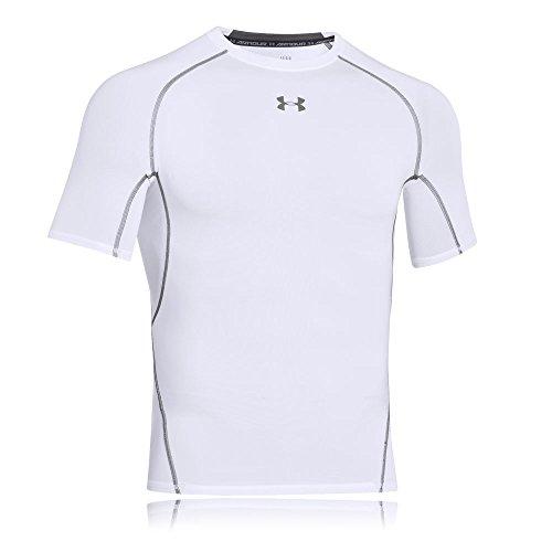 Under Armour UA HeatGear Kurzarm, Kompressionsunterhemd für Sport, Herren-Fitness-Top mit HeatGear-Stoff Herren, Weiß (Weiß / Graphit (100)), L.
