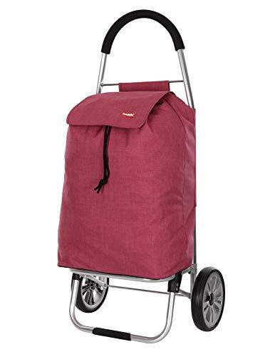 Caddie Mahola Stabiler Einkaufroller klappbarer Einkaufwagen 2 Räder 50 Liter wasserdichte und Taschelavable Farbe Rot