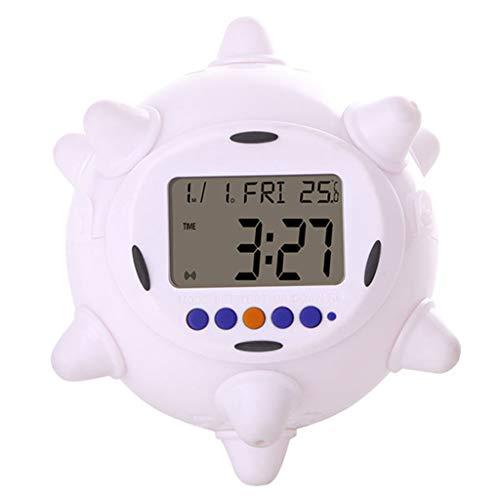 Springender Wecker Bunte Farbe Elektronischer Wecker Kind Student Schlafzimmer Nachttisch LED Weiß Kleiner Wecker,Milky