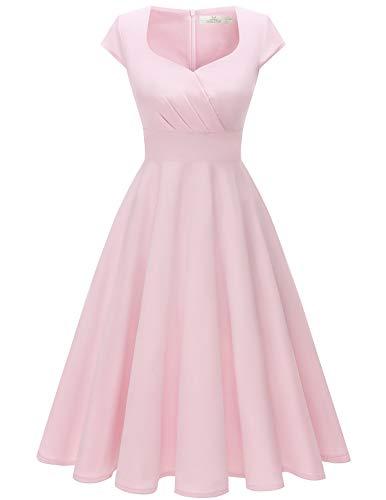 HomRain 50er Vintage Retro Cocktailkleid Rockabilly V-Ausschnitt Kleider Elegent Abendkleid Faltenrock Pink-1 S