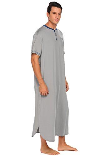 Herren NachthemdHerren Einteiliger Schlafanzug Nachthemd Kurzarm Extra Lang Pyjama Herrennachthemd mit Manschette und Knöpfleiste Grau