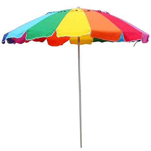 Impact Canopy 8' Beach Umbrella, UV Protected, Vented, Tilt Pole, Sand Anchor, Carry Bag, Rainbow