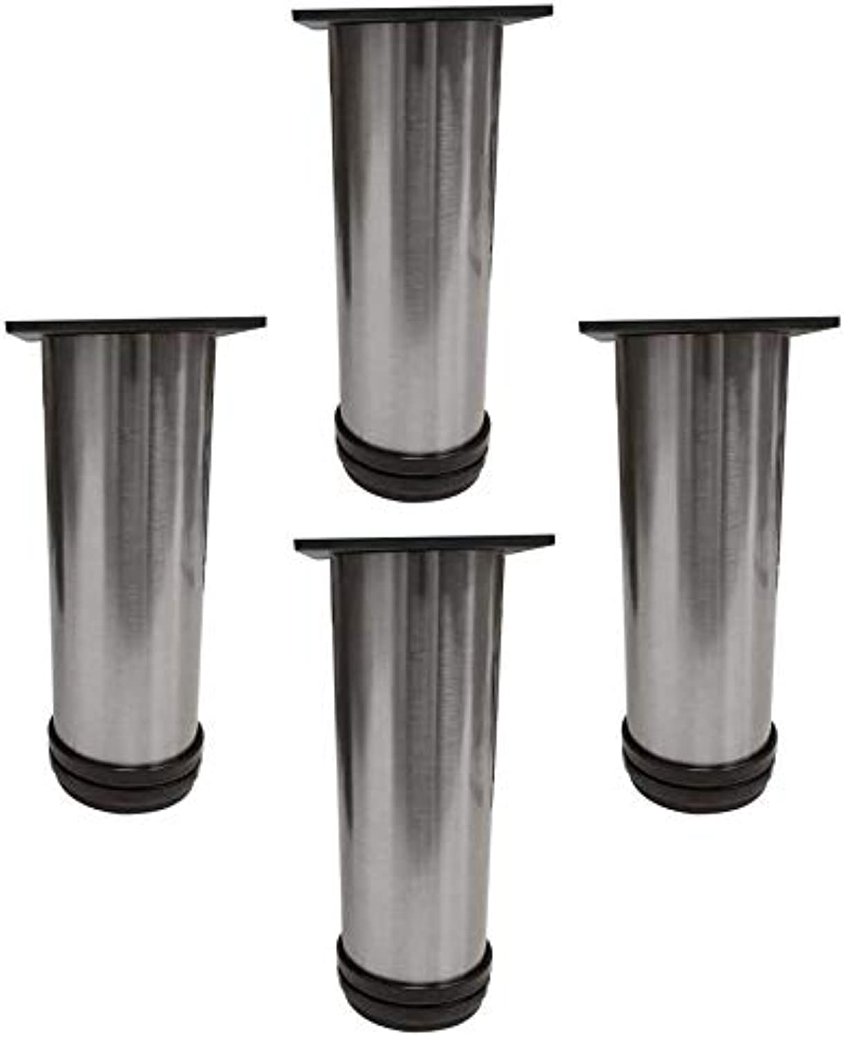 TableLegsOnline 6  Tall, Metal Furniture Legs, Set of Four (Brushed Steel)