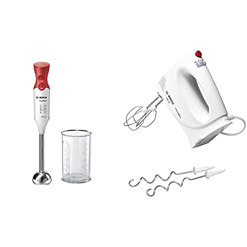 Bosch Msm64110 Ergommixx Mixer A Immersione, 450 W, Acciaio Inox, Bianco & Mfq3030 Sbattitore, 350 W, Bianco/Rosso, Basic