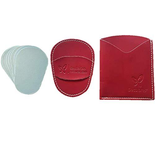 Decolores   Guante depilatorio corporal natural de color rojo, con estuche y 10 láminas de silicio.Guantes para eliminar el vello y las células muertas dejando tu piel totalmente suave y perfecta.