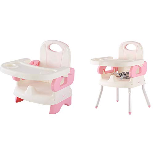 LU KU Baby Chair Booster Seat with Tray, Easy Folding & Adjustable Safety Harness Portable, for Babies Aged 3-36 Months, Attach To Fast Table Chair for Home And Travel Multicolor Optional,Pink