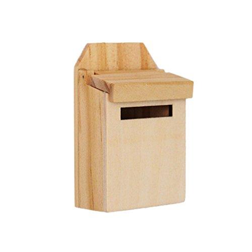 Sharplace 1:12 Puppenhaus Miniatur Holz Mailbox/ Briefkasten/ Briefbox Mit Abziehbild Pupenstube Zubehör - Natürlich