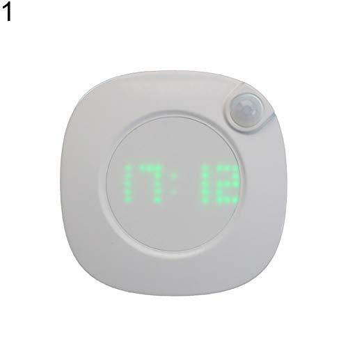 Muzhili3 - Luz de noche LED, sensor de movimiento LED, luz de noche, pantalla de hora digital, reloj de dormitorio y cuarto de baño