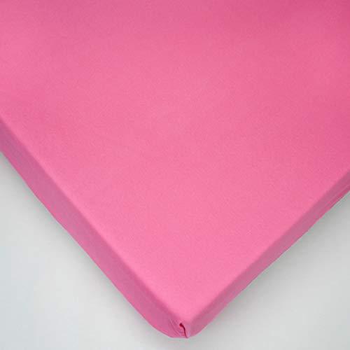 Jersey Rosa Sábana bajera 100% algodón para colchón de cuna de bebé de 90 x 40 cm