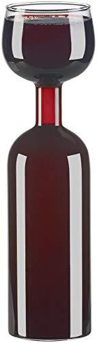Rosenstein & Söhne Ausgießer: 2in1-Weinflasche und XXL-Glas aus Echtglas, 750 ml (Weißweinglas)