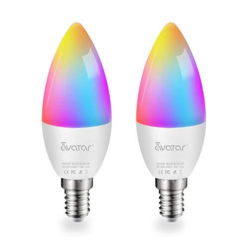 Lampadina Alexa E14, Lampadine LED Smart Lampada WiFi Intelligente 5W=40W 2700K-6500K Luci RGBCW Compatibile con Alexa/Google Assistant by Avatar Controls Multicolore Dimmerabile (Bluetooth, 2)