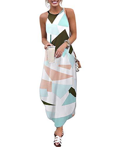 CNFIO Strandkleid Damen Sommer Maxikleider Geometrisch Ärmellos Kleider Bedrucktes Trägerkleid Casual Shirtkleider C-Armeegrün M