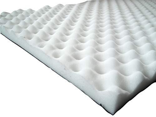Akustikschaumstoff, Noppenschaumstoff, Dämmung (100cm x 50cm x h) Weiß o. Schwarz (100 x 50 x 5, Weiss)