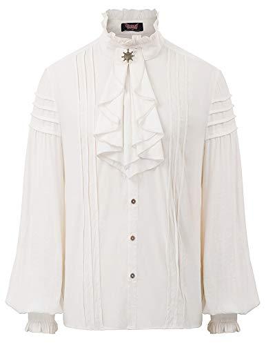 SCARLET DARKNESS Herren Mittelalterliches Renaissance-Schnürhemd Langarm Gothic Tops Weiß Größe XL