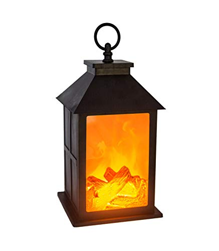 AC-Déco Lanterne à Pile Imitation feu de Bois - L 14 x l 14 x H 26,5 cm