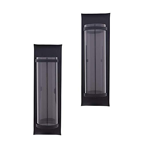 Flamingo & Pine Pillar Candle Sconces in Metal with Glass Inserts - A Wrought Iron Rectangle Wall Accent (Set of 2)