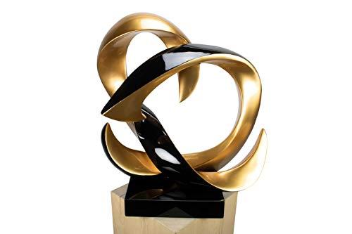 KunstLoft® Skulptur 'Bound by Magic' in 59x57x29cm | Moderne Kunststein-Figur | Abstrakt Kreise Schwarz Gold Deko | Statue als Unikat - Handgefertigtes Kunstwerk | Schöne Wohnzimmer-Dekoration