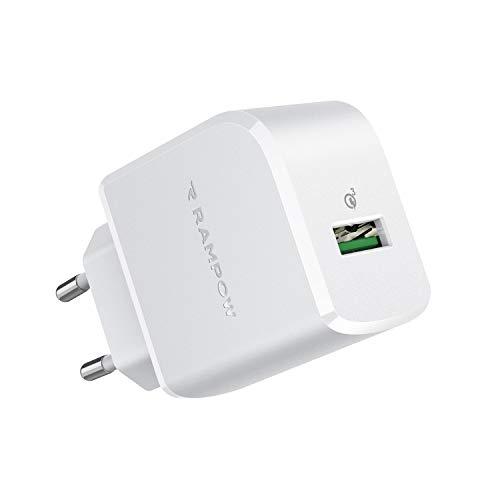 RAMPOW Cargador USB 19.5W Cargador de Red con Quick Charge 3.0 Cargador USB Pared Cargador Móvil para Teléfonos y Tabletas, iPhone, iPad, Samsung, LG, HTC, Sony, Huawei, Xiaomi y más - Blanco