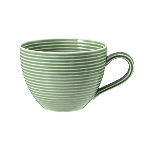 Seltmann 001.753837 Beat Porzellan Milchkaffeetasse mit Relief, Rund, Grün, 0.26L, 12.0cm Durchmesser, 6.6cm Höhe, 6 Stück