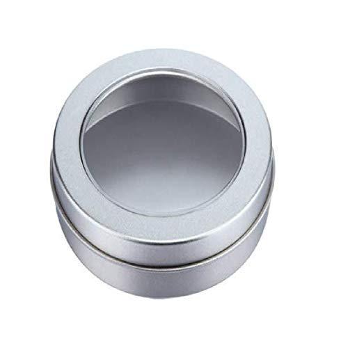 Round Clear Window Aluminium Tin- 60ml Latas de Metal minúsculo 2oz Contenedores de estaño vacíos para bálsamo Labial cosmético DIY Salves Pretty Gifts Muestras Tarros 3Pcs