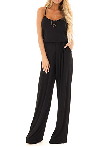 Women Summer Casual Loose Spaghetti Strap Sleeveless Open Back Wide Leg Long Pants Romper Jumpsuits Black X-Large
