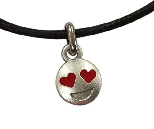 Emoticon Emoji Smiley Ojos de Corazón, Colgante chapado plata con collar. Idea de regalo original para ella, mujer: Dia San Valentin, Aniversario bodas compromiso, Despedida soltera. Diámetro 1,2 cm