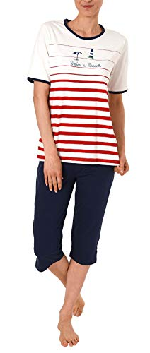 Damen Capri-Pyjama Kurzarm von Normann in maritimer Optik - 191 204 90 920, Farbe:rot, Größe2:44/46