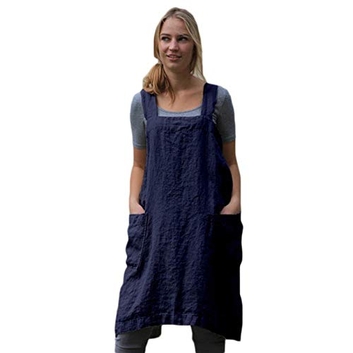 Maijia Vintage Cottage Home Garden Double Pockets Solid Apron Pinafore Dress Casual Loose Fit Dress for Women