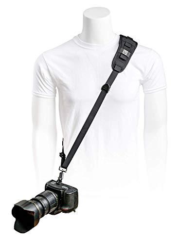 BlackRapid Delta - Eslinga para cámara fotográfica, diseño original, correa para cámaras réflex réflex y sin espejo - negro - con almohadilla de hombro recto para fotógrafos diestros y zurdos