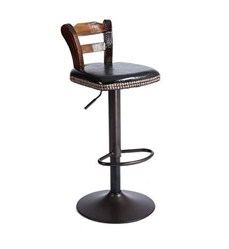 WJSW Bar Möbel Barhocker Amerikanischen Stil Retro Bar Stühle Rotierenden Sessellift Stuhl Massivholz Rückenlehne Barhocker für Familie und Business Büro (Farbe: Schwarz)