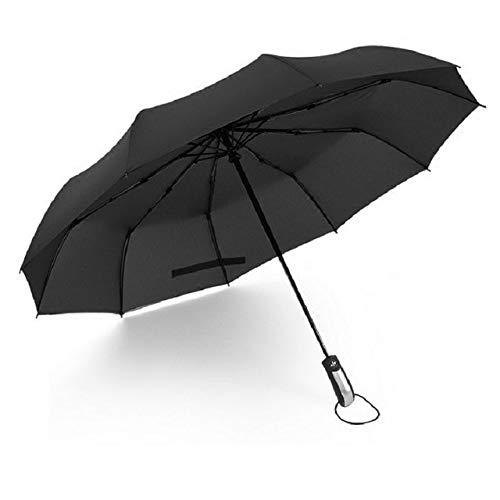 ZGMMM Paraguas Plegable Completamente automático para Hombre Paraguas automático a Prueba de Viento Negro Paraguas de Mujer Sombrilla automática China Negro