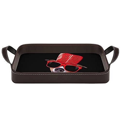 bandeja de cuero,bandeja de tocador decorativa,Perro fresco de las gafas de sol,Bandeja de utilidad Oficina en casa Viaje Café Ba