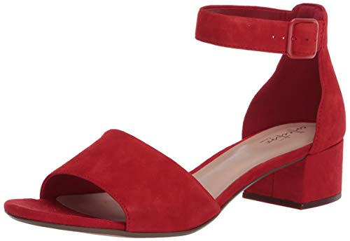 Clarks Women's Elisa Dedra Heeled Sandal, Red Suede, 6.5 M US