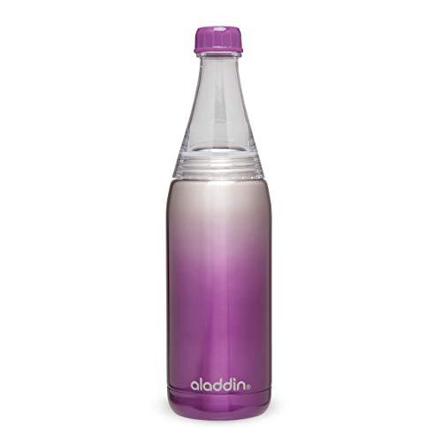 Aladdin Fresco Twist & Go Thermavac Stainless Steel Water Bottle 0.6L Purple – Wasserflasche - Auslaufsicher - Doppelwandige Vakuumisolierung - Hält 8 Stunden Kalt - BPA-Frei - Spülmaschinenfest