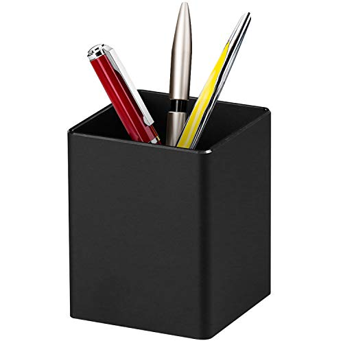 Richboom Metal Pen Holder Pencil Holder, Aluminum Desktop Pencil Cup Stationery Organizer, Black