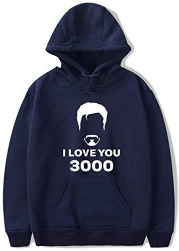 Silver Basic Sudadera para Mujer I Love You 3000 Iron-Man Hoodie Suéter de Ocio Azul Oscuro-1 L…