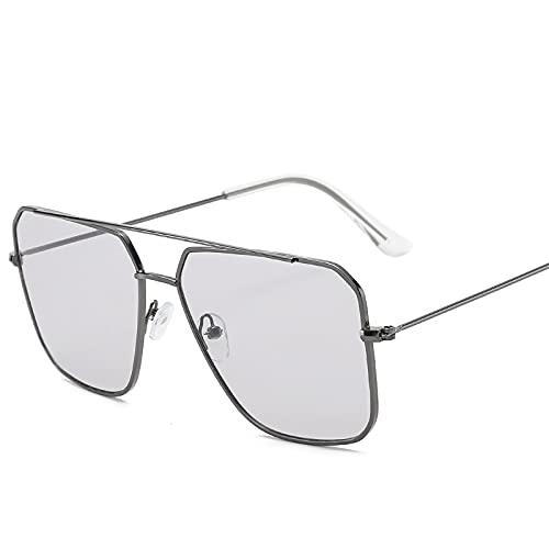 YTYASO Gafas de Sol cuadradas para Hombres, Mujeres, Montura metálica, Gafas de Sol para Conducir, UV400, Gafas graduadas con Espejo Rosa