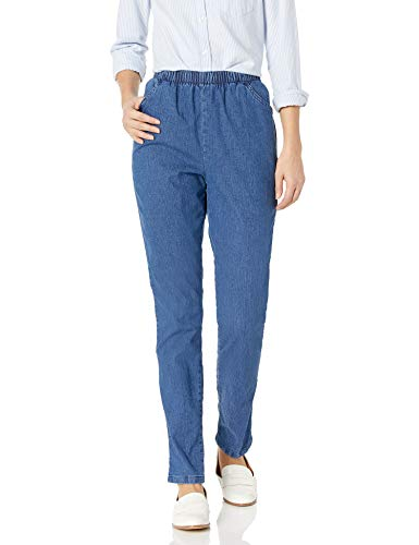Chic Classic Collection Women's Stretch Elastic Waist Pull-On Pant, Mid Shade Denim, 10P