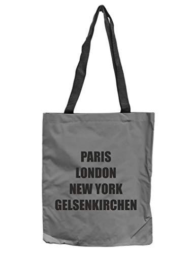 WB wohn trends Reflektor-Tasche Gelsenkirchen - Paris London New York, grau-Silber REFLEKTIERT! Einkaufs-Beutel mit Innentasche, Einkaufstasche Tragetasche Shopper Shopping-Bag Ruhrpott