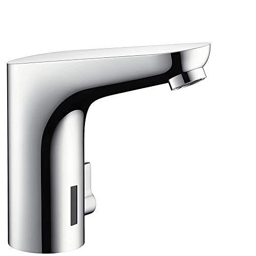 hansgrohe Wasserhahn Focus Elektronik-Waschtischarmatur, Auslauf Höhe 130mm mit Temperaturregulierung und Netzanschluss, Chrom
