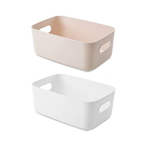 Yemiany Caja organizadora con asas,cestas almacenaje,2 cestas de estudio con asa, caja de almacenamiento de cosméticos,organizador ordenado,cesta de almacenamiento para el baño en casa(30x19,5x12 cm)