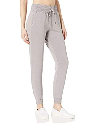 Betsey Johnson Women's Shirred Waist Jogger, Pewter, L