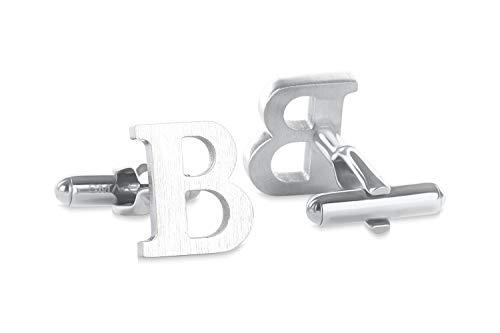 SMARTEON® Manschettenknöpfe für Herren | Premium Buchstaben A-Z | Silber & Schwarz aus hochwertigem Edelstahl in mattem Design | Elegante Cufflinks in einem edlen Geschenk-Set (B - silber)