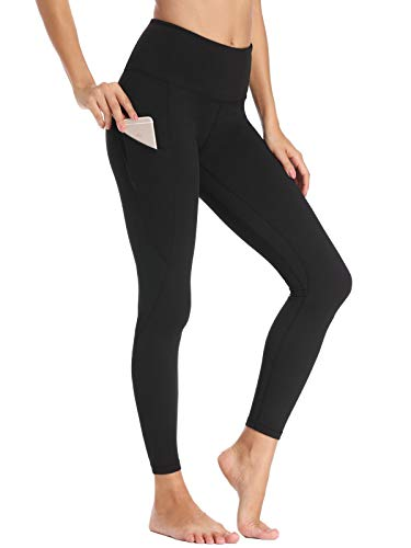 Willit Women's Fleece Lined Leggings Winter Yoga Running Leggings with Pockets High Waisted Pants Workout Thermal Tights Black M