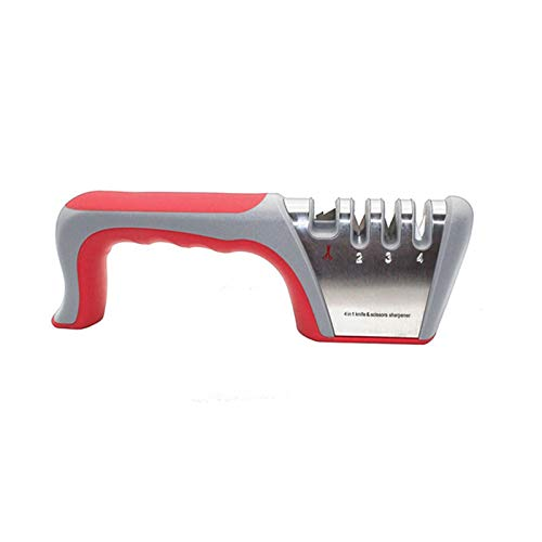 Afilador de cuchillos 4 en 1 Afilador de cuchillo de cocina y tijera con diamante de acero de tungsteno piedra de cerámica para restaurar cuchillo o tijeras cuchillas rápidamente (rojo)