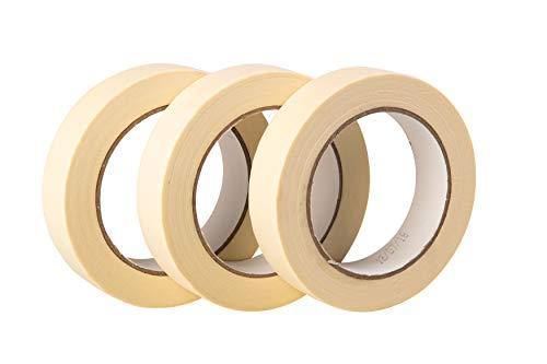 GTSE Premium Kreppband, 3 Rollen, 50 m x 25 mm, hochwertig, zum Malen und Dekorieren Abdeckband