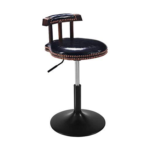 Giyl 360 ° draaibare kruk, hoogte stoelen, verstelbaar, met rugleuning en voetensteun, tangstoel van metaal, Coffee Shop, thekenkruk, kapsalon