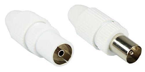 COM-FOUR® HQ set: 1x stekker + 1x stopcontact, hoogwaardige tv-antenne coaxstekkerkoppeling wit